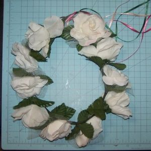 Handmade Accessories - Adult size white rose flower crown
